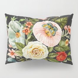 Wildflower and Butterflies Bouquet on Charcoal Black Pillow Sham