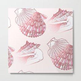 Seashells Coastal Nautical Pattern Pink Metal Print