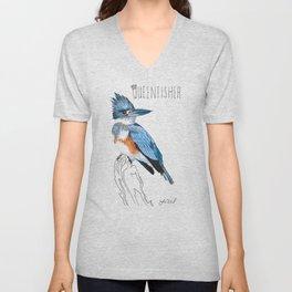 Queenfisher (Belted Kingfisher) Unisex V-Neck