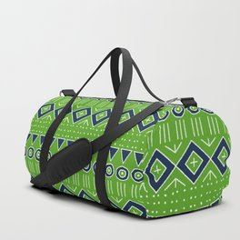 Mudcloth Style 2 in Lime and Navy Duffle Bag