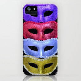Colorful glitter costume masks iPhone Case