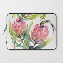 King Protea and Bird Watercolor Illustration Botanical Design Laptop Sleeve
