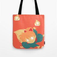 inuyasha Tote Bags featuring Fox Magic by Aspen Bear