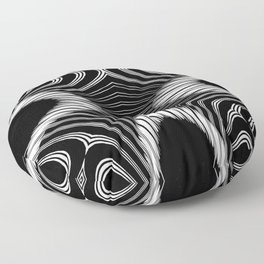 Geometric Black and White Skeleton African-Inspired Pattern Floor Pillow