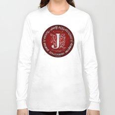 Joshua 24:15 - (Silver on Red) Monogram J Long Sleeve T-shirt