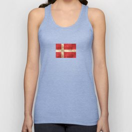 Vintage Aged and Scratched Danish Flag Unisex Tank Top