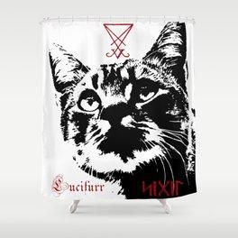 CAT METAL : Lucifurr - SIGIL Shower Curtain
