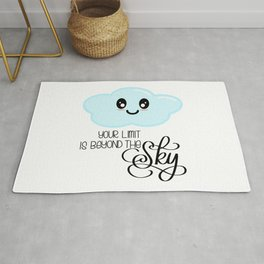 Your Limit is Beyond the Sky - Kawaii Cute Cloud - Modern Calligraphy Lettering Rug