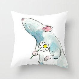 Woodland mouse with a flower Throw Pillow