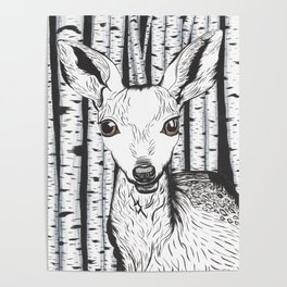 Ink and watercolor black and white doe/deer in the forest Poster