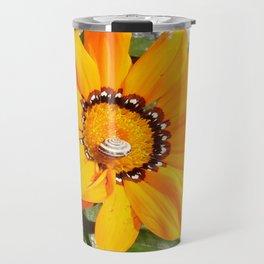 Bright Orange Gazania Flower with Snail Travel Mug