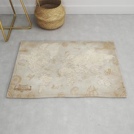 Vintage looking current world map with sea monsters and sail ships Rug