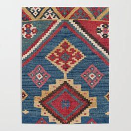 Vintage Woven Kilim // 19th Century Colorful Royal Blue Yellow Authentic Classic Ornate Accent Patte Poster