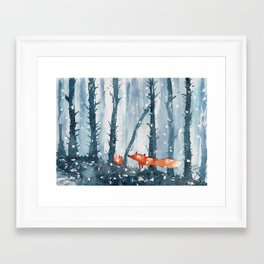 Foxes in forest Framed Art Print