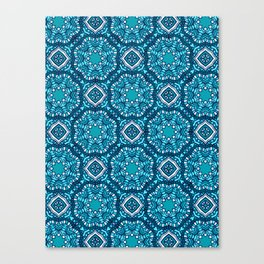 Moroccan Tile Pattern - Turquoise Canvas Print