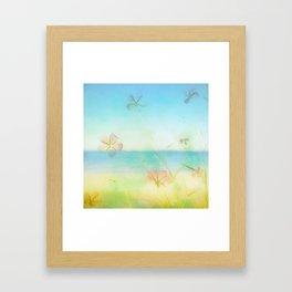 Dreamy Summer Beach Flowers Framed Art Print