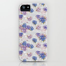 Hydrangeas and French Script with birds on gray background iPhone Case