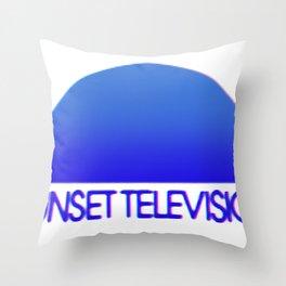 Sunset Television Logo Blue Throw Pillow