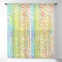 Stain Glass Floral Abstract - Rainbow Colors Sheer Curtain