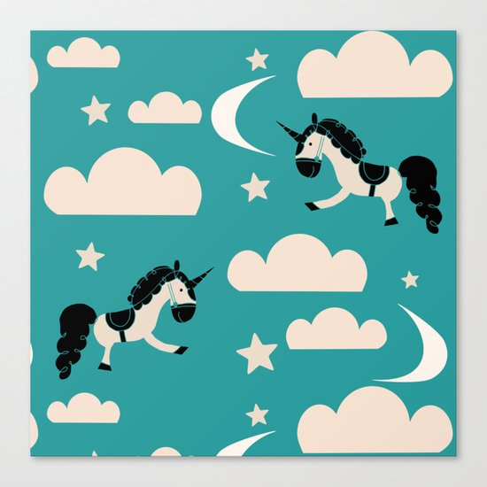 Unicorn Teal Canvas Print
