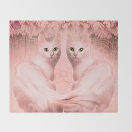 """""""Pink Pastel Doppelganger Cats at the Garden"""" Throw Blanket"""