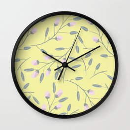 Delicate Pink Rosebuds in a Field of Sunshine Wall Clock