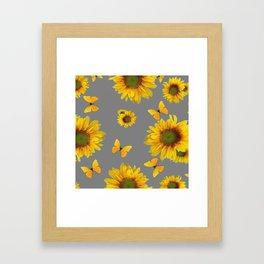 Fluttering Yellow butterflies Sunflowers Grey Pattern Art Framed Art Print