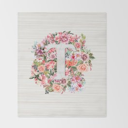 Initial Letter T Watercolor Flower Throw Blanket