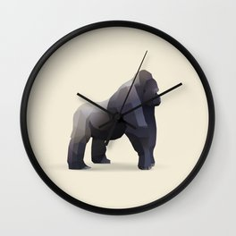 Geometric Silverback Gorilla - Modern Animal Art Wall Clock