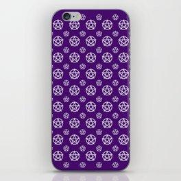 Dark Purple White Pentacle Pattern iPhone Skin