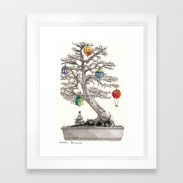 Festive Bonsai Tree Framed Art Print