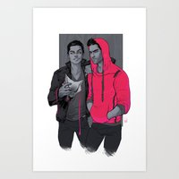 daunt Art Prints featuring Little Red has Pointy Teeth by Daunt