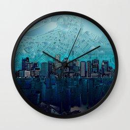 boston city skyline Wall Clock