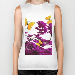 YELLOW BUTTERFLIES & PURPLE BOUGAINVILLEA FLOWERS Biker Tank