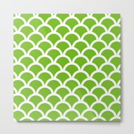 Fish Scales in Green and White Metal Print