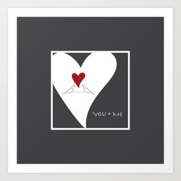 You + Me - Red Heart Birds In Love Art Print