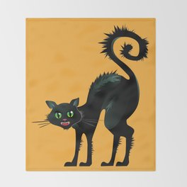 Angry Black Cat Throw Blanket