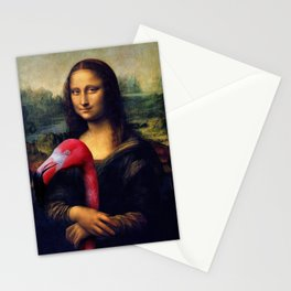Mona Lisa and Her Flamingo Stationery Cards