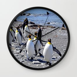 King Penguins on the Beach Wall Clock