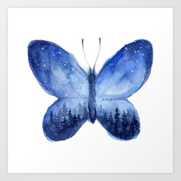 Blue Galaxy Butterfly Art Print