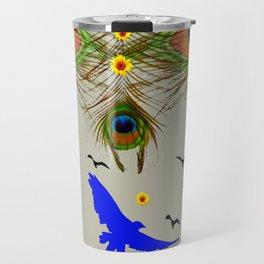 SUNFLOWERS  BIRDS & GREEN PEACOCK FANTASY ART Travel Mug