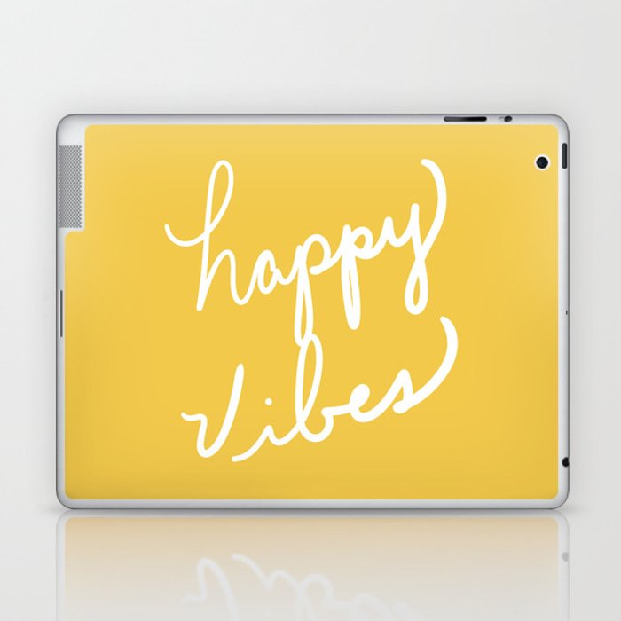 Happy Vibes Yellow Laptop & iPad Skin
