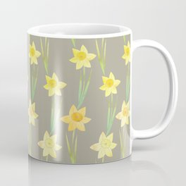 Yellow Watercolour Stemmed Daffodil Pattern Coffee Mug