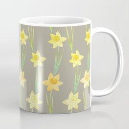 Yellow Watercolour Stemmed Daffodil Pattern Coffee Mug