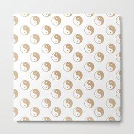 Yin & Yang (Tan & White Pattern) Metal Print