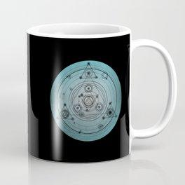 Blue distressed mandala circle with alchemy symbols Coffee Mug