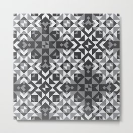 Black and White Geometric Quilt Pattern Metal Print