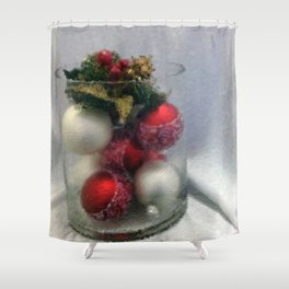Red and White Ornaments Shower Curtain