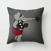 patriotic Throw Pillows featuring Patriotic Pugilist  by Adam Metzner
