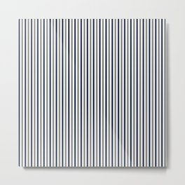 Navy White And Grey Vertical Stripes Metal Print